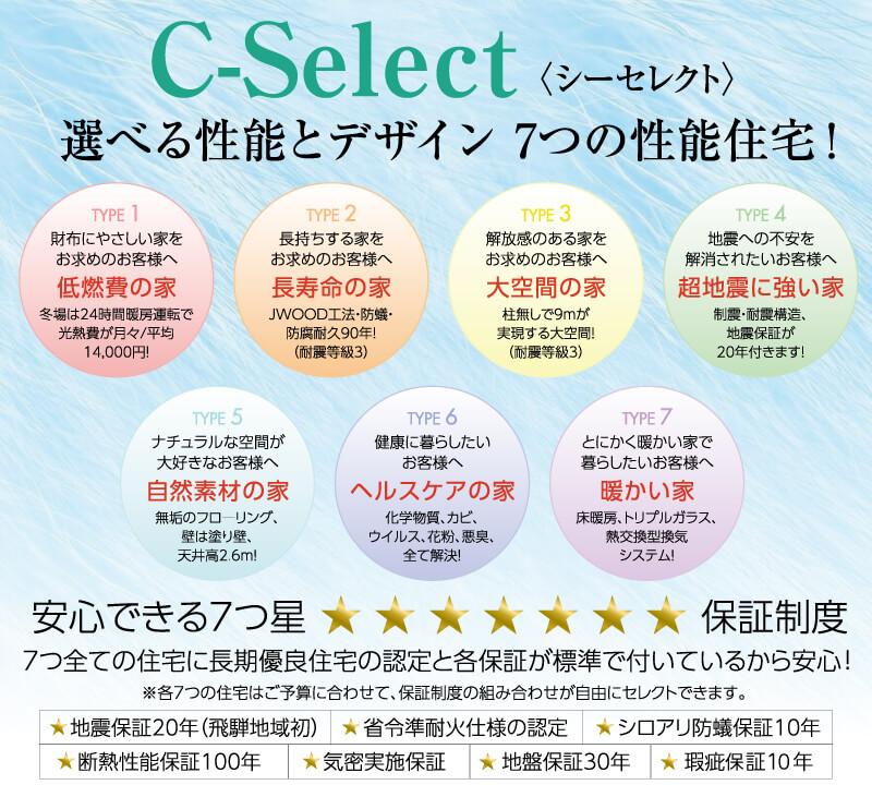 C-Selectでお好みの家づくりを
