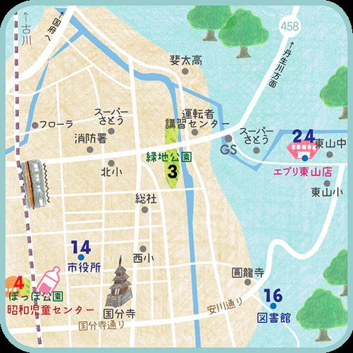 お出かけマップ三福寺~国分寺周辺